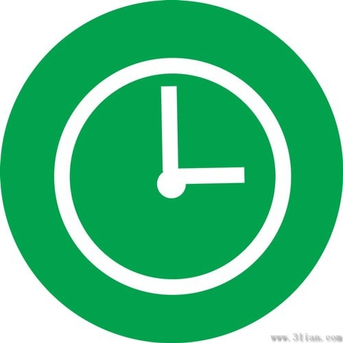 green background clock icon vector 6556